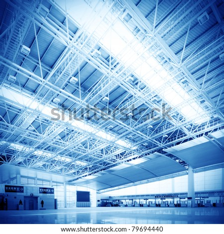 Interior of the airport in pudong shanghai china. - stock photo