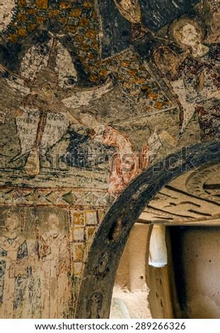 Interior of the cave church with early ortodox christian fresco - Cappadocia, Central Anatolia, Turkey (UNESCO World Heritage Site since 1985) - stock photo