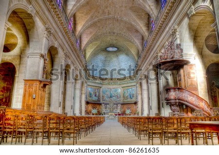 Interior of the Church of Notre Dame located at Bourdeaux, France - stock photo