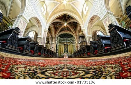 interior of the church of the Assumption in Banská Štiavnica, Slovakia UNESCO - stock photo