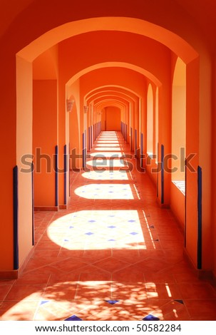 Interior of the corridor of modern hotel in arabian style - stock photo