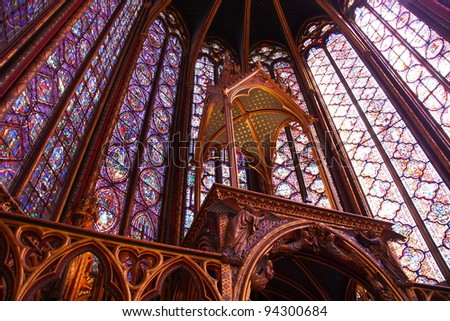 Interior of the famous Sainte Chapelle in Paris (France) - stock photo