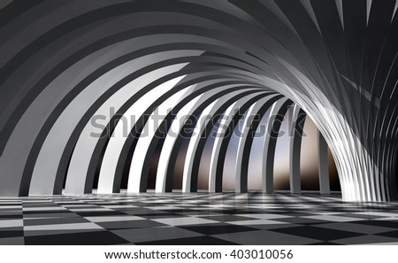 Interior of the hall . 3D rendering illustration - stock photo