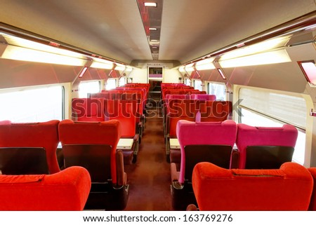 Interior of the high-speed train. - stock photo