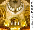 interior of the Holy Sophia cathedral  in Harbin china. - stock photo