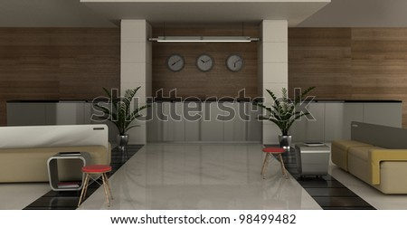 interior of the hotel with a lounge area and reception - stock photo