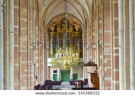 interior of the Lebuinus church in deventer, netherlands - stock photo