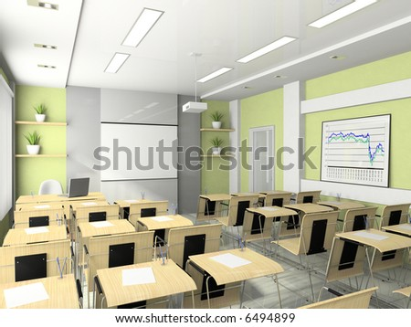 Interior of the lecture-room for seminars, studies, trainings or meetings - stock photo