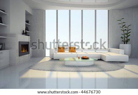 Interior of the living-room with fireplace 3D rendering - stock photo