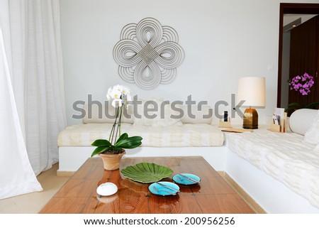 Interior of the luxury villa, Crete, Greece - stock photo
