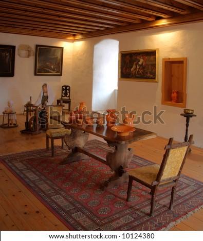 Interior of the Medieval castle of Predjama in Slovenia - stock photo