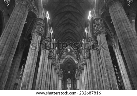 Interior of the Milan cathedral dome - stock photo