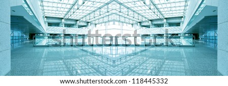 interior of the modern architectural in shanghai airport - stock photo