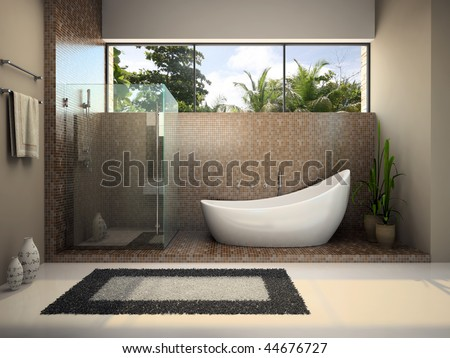 Interior of the modern bathroom 3D rendering - stock photo