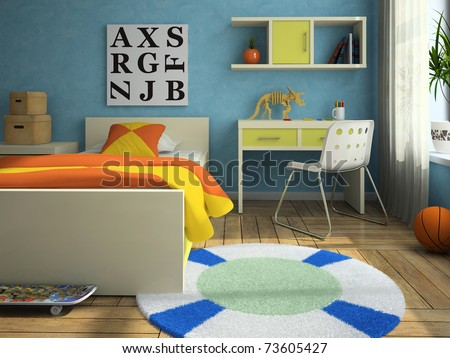 Interior of the modern childroom 3D rendering - stock photo
