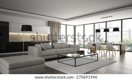 Interior of the modern design  loft  angle view 3D rendering  - stock photo
