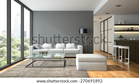 Interior of the modern design  loft  with black lamp 3D rendering  - stock photo