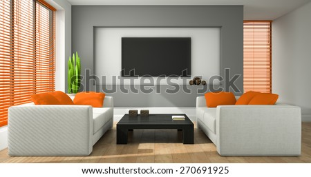 Jalousien Modern interior modern design room orange jalousie stock illustration