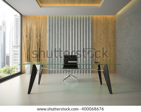 Interior of the modern office with glass table 3D rendering