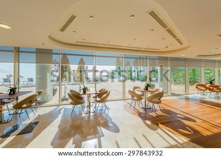 Interior of the modern restaraunt - stock photo
