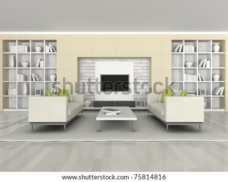 Interior of the modern room, brown wall and white sofa - stock photo
