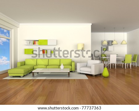 Interior of the modern room, dining room - stock photo