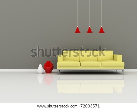 Interior of the modern room, grey wall and yellow sofa - stock photo