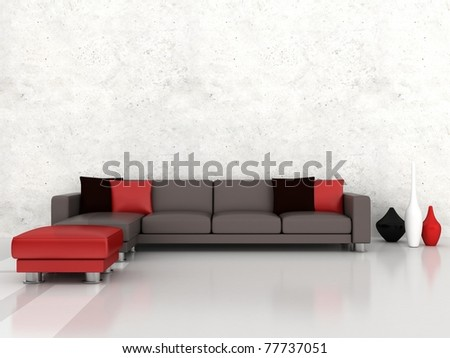 Interior of the modern room, white wall and grey sofa - stock photo