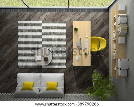 Interior of the office with yellow armchair top view 3D rendering   - stock photo