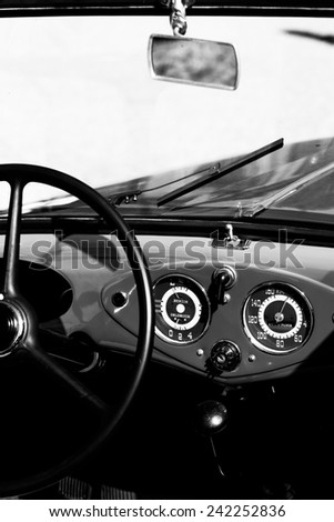 interior of the old car - stock photo