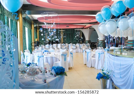 Interior of the restaurant, decorated for the holiday - stock photo
