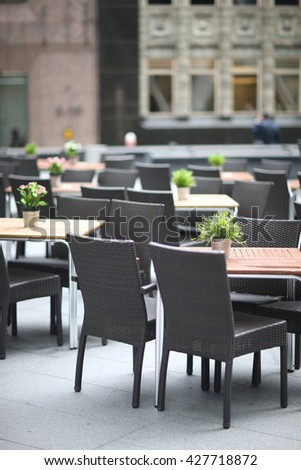 Interior of the rooftop restaurant - stock photo
