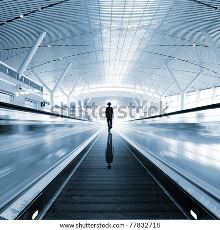 Interior of the shanghai airport,modern building concept. - stock photo
