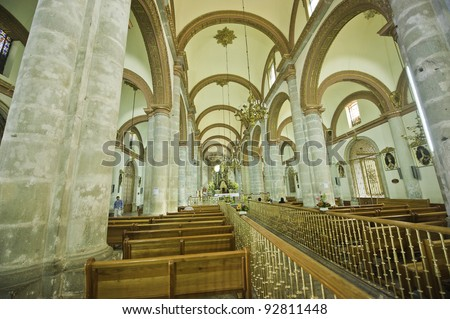 Interior of the Soccolo cathedral in Oaxaca Mexico - stock photo