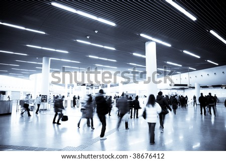interior of the subway station in shanghai china. - stock photo