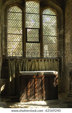 interior of Trinity church York with linen-fold altar - stock photo