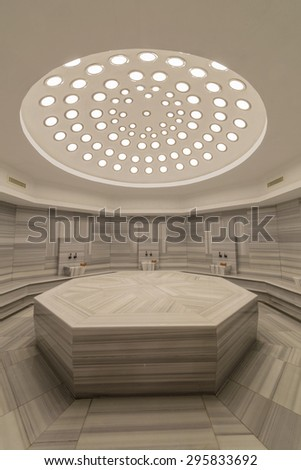 Interior of turkish bath hammam - stock photo