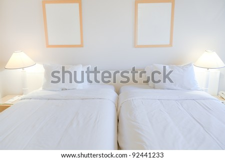 interior of two bed room in 4star hotel - stock photo