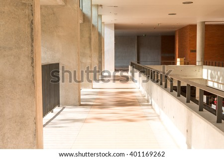 Interior of university or office building hallway in modern loft style - stock photo