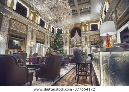 interior of Vienna Hotel Imperial in winter season