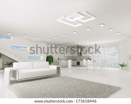 Interior of white apartment kitchen dining room 3d render - stock photo