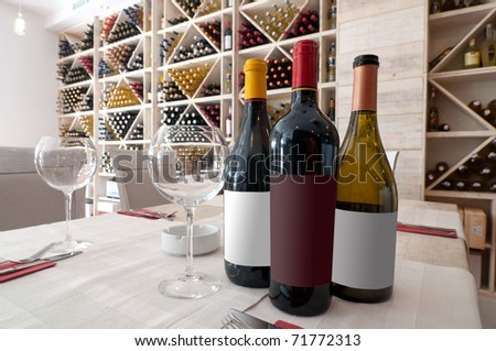 interior of wine bar and shop - stock photo