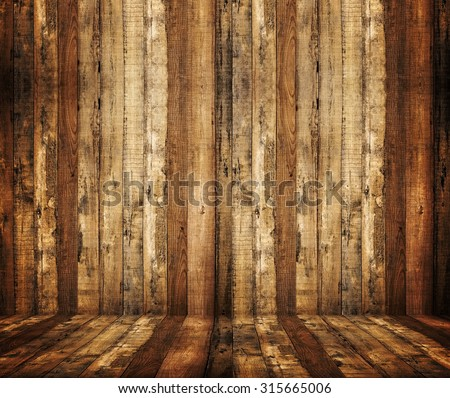 interior of wood plank - stock photo