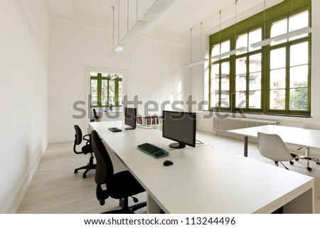 interior, office with furniture, computer