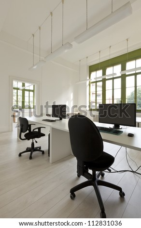 interior, office with furniture, computers - stock photo