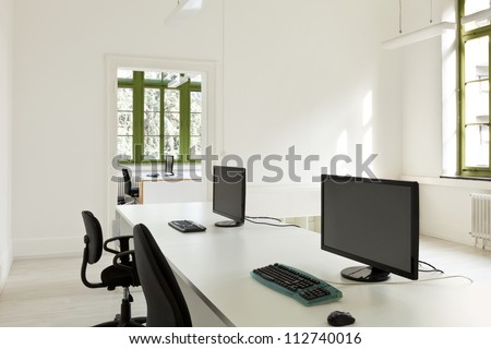 interior, office with furniture white - stock photo