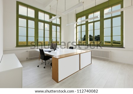 interior, office with furniture white, view from window - stock photo