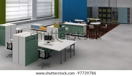 Interior office with system office desks and lounge area