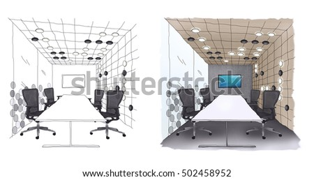 Interior outline sketch drawing perspective of a space office,Meeting Room