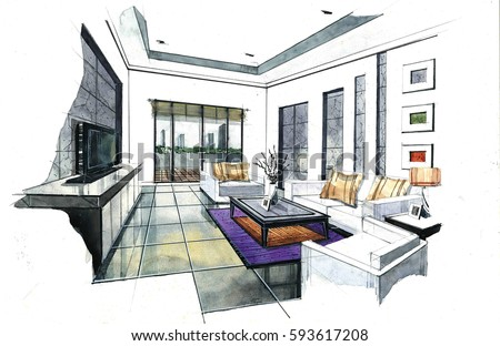 Interior Perspective Sketch Design. Watercolor Sketching Idea On White  Paper Background.